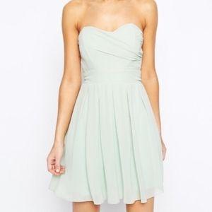 TFNC Blue strapless mini dress